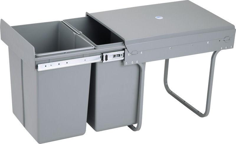 Wood kitchen cabinet garbage chute trash stainless for Automatic kitchen cabinets