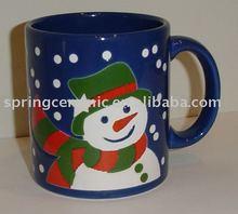 snowman ceramic coffee mug for chrismas