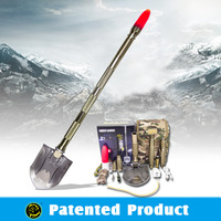 Emergency Auto Outdoor Tool Multifucntion Steel Shovel Pick Spade Sets Lightweight Trekking Pole, Tactical Knife ,Light