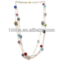 Fashion Colored Crystal Silver Necklace For Celebration