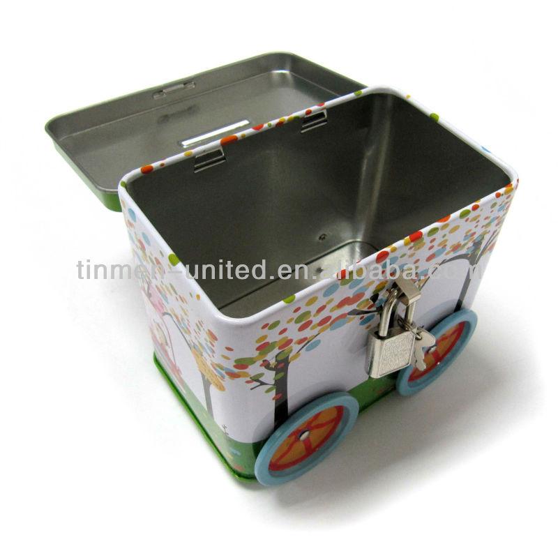 Train shape coin bank tin box buy train shape coin bank for How to open a tin piggy bank