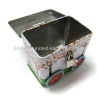train shape coin bank tin box