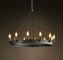 Rustic in Style Classical Industrial Camino Round Chandelier Loft Round Table Warrior Candle Antique Chandelier