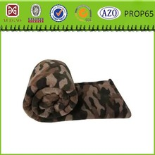 Army Green print polyester blanket cheap coral fleece blanket
