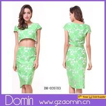 Ladies Print Cap Sleeve Crop Top+Midi Skirt Clothing Set
