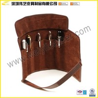 BTY015 Custom Leather Five Pen Roll Up Pencil Case Polyester Pen Case