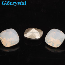 White opal square cabochon crystal diamond stone