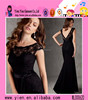 2015 Latest Unique Design Best Long Black Evening Dress Elegant Mermaid Lace Sleeveless Best Long Black Evening Dress