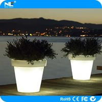 Outdoor decorative light up LED round flower pot / christmas decor LED flower pot
