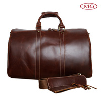 Carry-on luggage duffle bags genuine leather travel handbags for business trip with shoulder strap