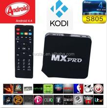 Tv Box Quad Core CPU1GB DDR 8GB Nand Flash MX Pro Android 4.4.2 Smart TVBox Media Player1080p Wifi Hd Xbmc Neflix Youtube Skype