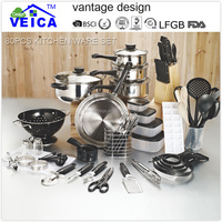 high quality stainless steel family 80 PCS cookware set with colored knobs and lids