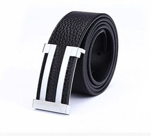 New custom fashion concise zine alloy buckles outdoor leisure style cowhide genuine leather belts