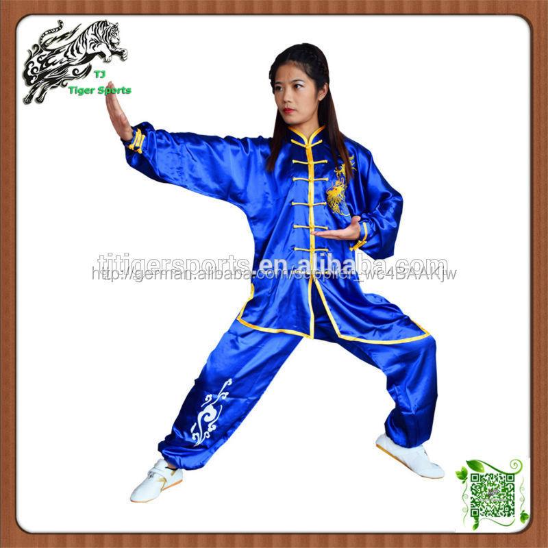 langarm satin kung fu einheitliche mit drachen stickerei