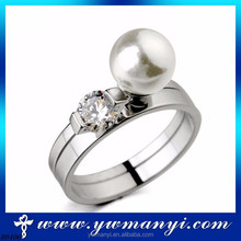 China Market 2015 fashion jewelry wedding special diamond pearl ring wholesale jewelry manufacturing company