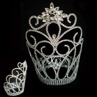 Fashion metal silver party king crown tall pageant flower crown and crown for sale