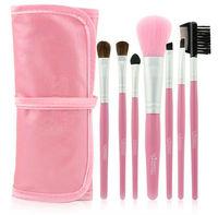 Emily 7pcs Mini Travel Cosmetic Brush Set with Pink Case Bag