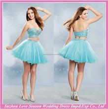 HE10007 fashionable chiffon alibaba prom dress 2015 short beaded sleeveless sexy sweetheart two piece prom dresses