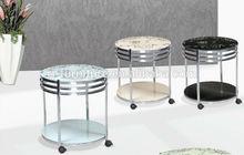 Ronda de vidrio café/té/lado/pequeño/mesa final/teapoy/con lanzador/movible