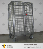 china supplier folding storage cage with wheels