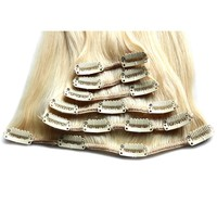100% Human Remy hair Full Head Luxry Clip On Hair Extensions with lace side