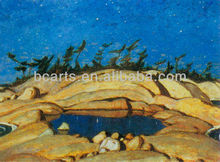 Abstract Landscape Night Sky and Pine Island Oil Paintings