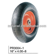PR3004-1 OEM soft rubber wheel 4.00-8 straight burr for Wheelbarrow