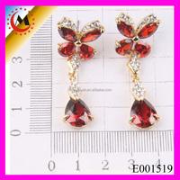 Wholesale Turkish Jewelry Ruby Butterfly Cute Animal Stud Animal Earrings
