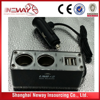 Universal Auto Cigarette Lighter Socket Dual USB Car Charger with twin 12v socket