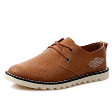 Breathable Men genuine leather shoes lace-up brown casual shoes