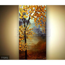 Handmade impressionist palette knife tree landscape oil painting on canvas,vertical blooming golden tree
