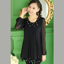 Fashion Printed Plus Size Long Sleeve Tops Elegant Ladies Loose Blouse