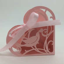 2015 Best selling Pink Bird Heart Shape laser cut wholeale candy box with ribbon chocolate favour box baby shower gift box