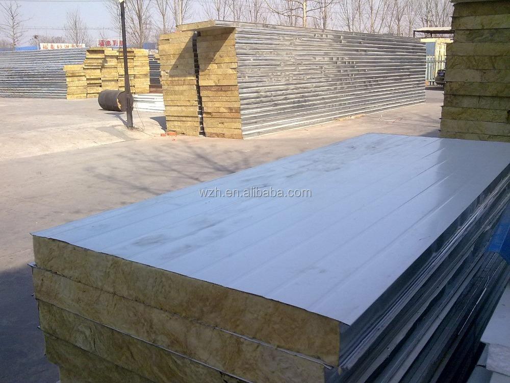 Fireproof rockwool insulation roof corrugated roof panels for Rockwool insulation panels