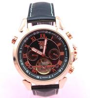 new arrival fashion designer genuine leather band automatic self-wind jaragar skeleton watches