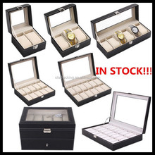 Custom leather cover wood watch case of 2slots,3slots,6slots,10slots,12slots,20slots,24slots
