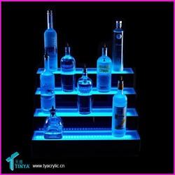 Bar Charming 4-step Tabletop Glass Whisky Vodka Display Shelf Liquor Bottles Stand Acrylic LED Bottle Display Stand/Rack