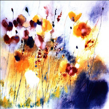Newest design Abstract painting handmade abstract flower painted pictures of flowers antique painting poppy flower painting