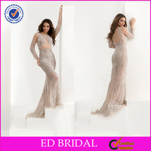 Sex See Through Sequined Mermaid Long Sleeve Ladies Long Evening Party Wear Gown