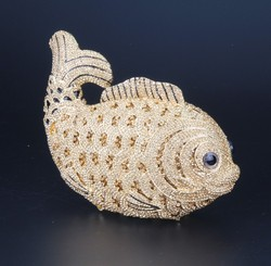 New Style Customized Top quality fish design crystal evening bag with factory offer