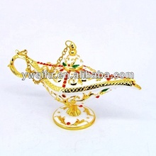 New design white Aladdin Lamp metal crystal trinket jewelry box(QF3981)