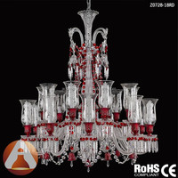 Baccarat Style 18 Light Chandelier Crystals in Wine Red Color