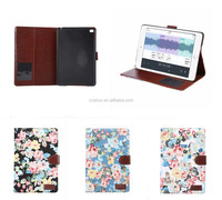 Floral Cloth Durable Folding Flip Stand PU Leather Tablet Cover Case For iPad Mini 4 With Card Slots