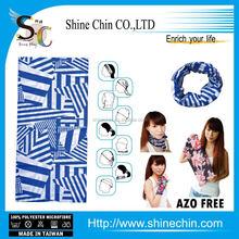 Blue geometric drawing fabric headwear
