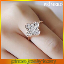 PRIMERO New Design Good Zircon Micro Paved Ring 18K Rose Plated Korean Style Lucky Clover Fashion Crystal Ring