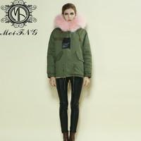 2015 new fashion high quality pink furs warm winter parka japan M001-17
