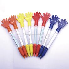 customized logo printed finger hand plastic ball pen