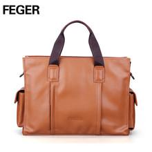 FEGER custom pu leather handbag durable men bags oem tote men bag