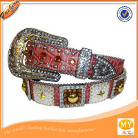 2014 hot sell brand pink rhinestone belts