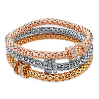 Fashion Silver Gold Rose Gold 3 Layer Plated Rhinestone Charm Snake Chain Bracelet